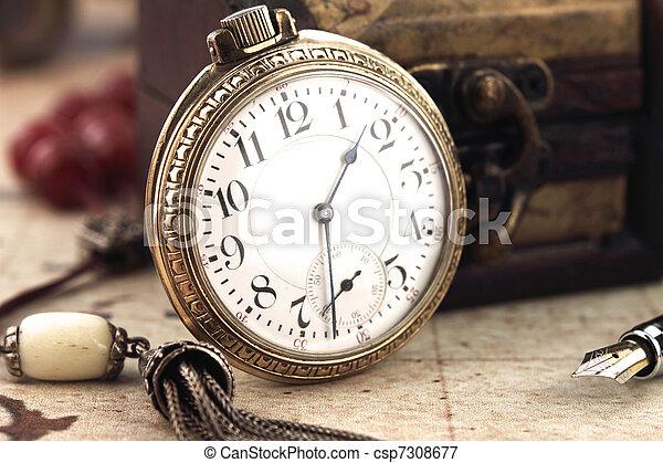 antiquité, décoration, horloge, poche, objets, retro - csp7308677