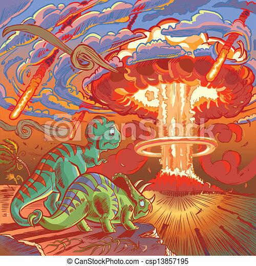 apocalypse, dinosaures, montre, deux - csp13857195