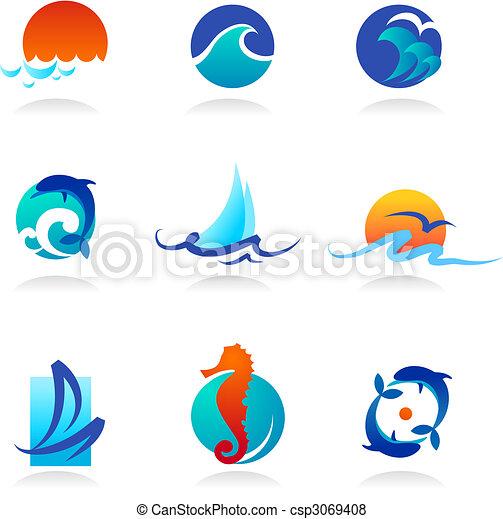 apparenté, icônes, mer, collection - csp3069408