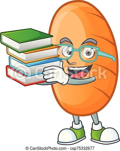 apporter, délicieux, étudiant, livre, pain, caractère, long - csp75332677