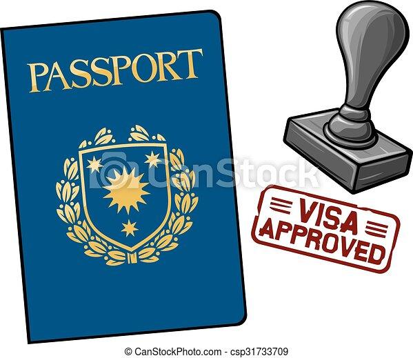 approuvé, -, visa, passeport - csp31733709