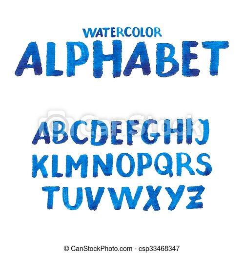 aquarelle, manuscrit, alphabet, symbols., nombres - csp33468347