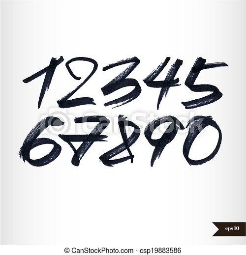 aquarelle, nombres, calligraphic - csp19883586