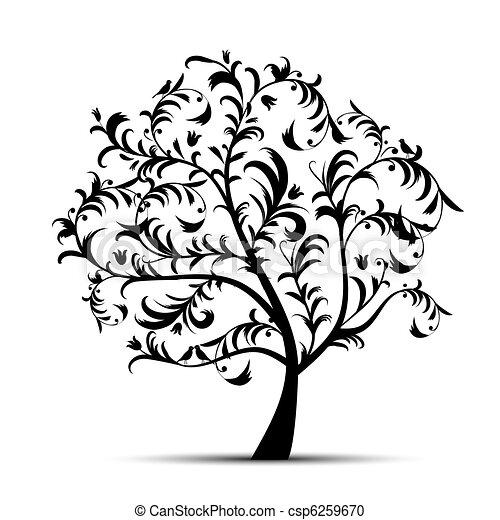 arbre, noir, art, beau, silhouette - csp6259670