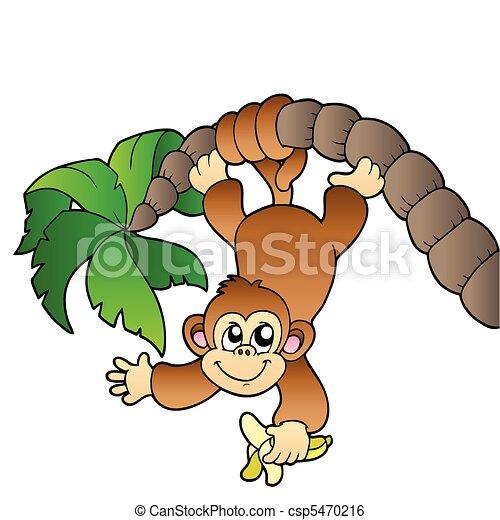 arbre, paume, singe, pendre - csp5470216