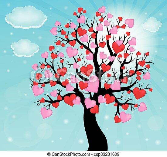 arbre, thème, 2, silhouette, cœurs - csp33231609