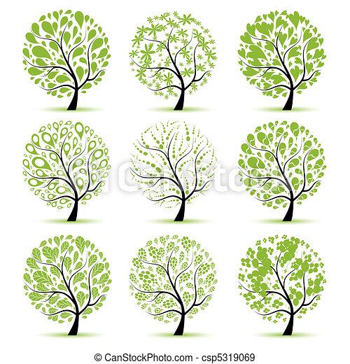 arbre, ton, art, collection, conception - csp5319069