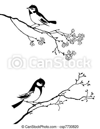 arbre, vecteur, silhouette, oiseau, branche - csp7730820