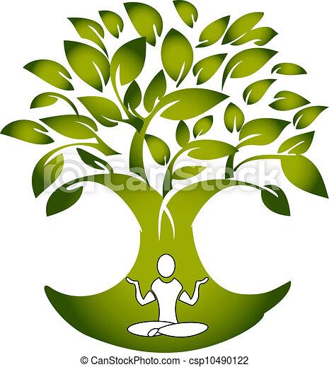 arbre, vecteur, yoga, figure, logo - csp10490122