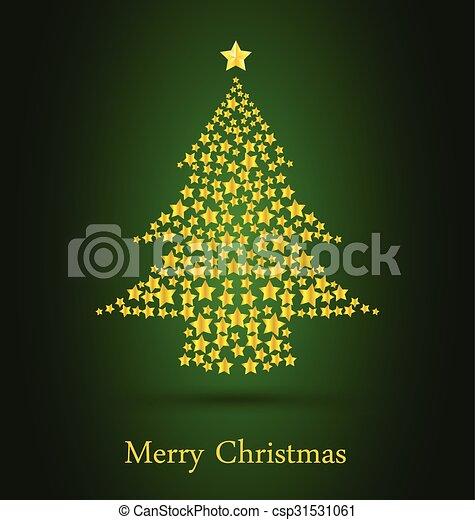 arbre vert, fond, or, noël - csp31531061