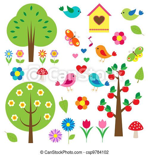 arbres., vecteur, ensemble, oiseaux - csp9784102