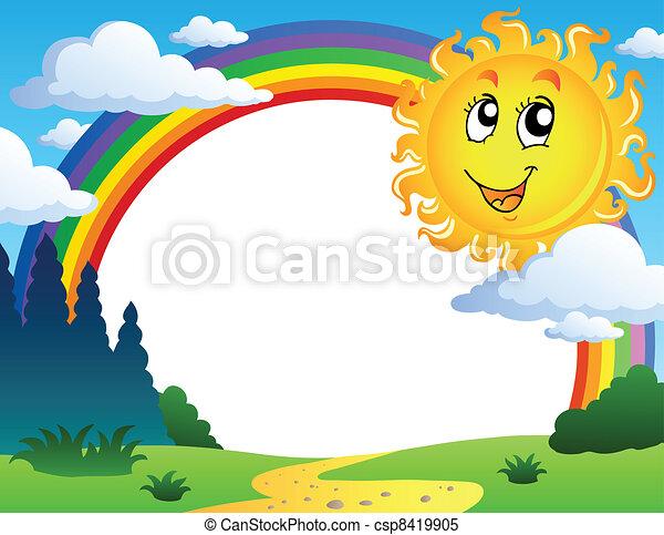 arc-en-ciel, 2, paysage, soleil - csp8419905