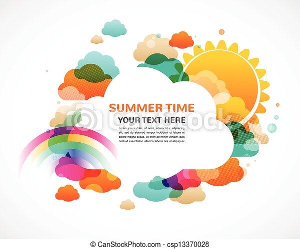 arc-en-ciel, soleil, coloré, résumé, nuages, vecteur, fond - csp13370028