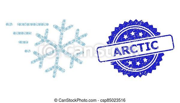 arctique, grunge, recursive, icône, vent, timbre, gelée, collage - csp85023516