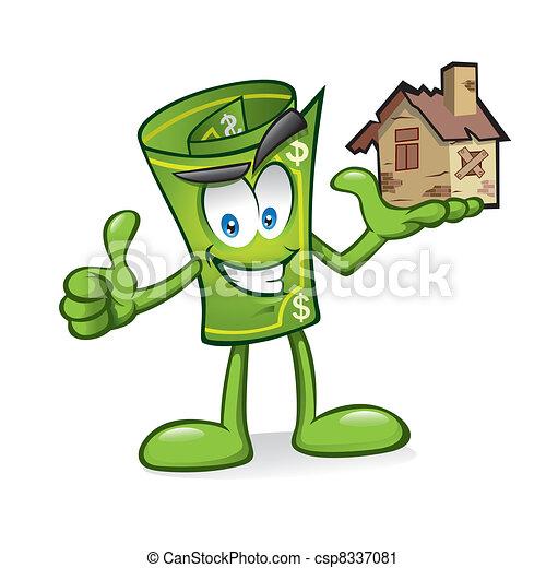 argent, endommagé, dessin animé, maisons - csp8337081