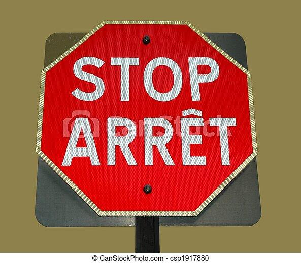 arrêt, bilingue, signe - csp1917880