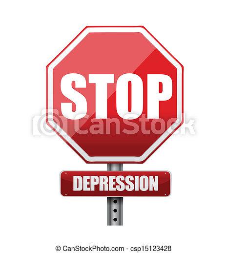 arrêt, illustration, signe, conception, dépression, route - csp15123428