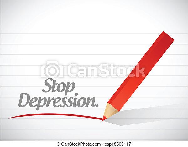 arrêt, message, conception, dépression, illustration - csp18503117