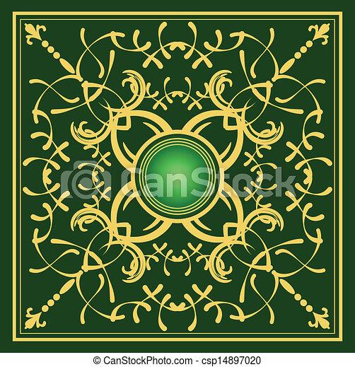 arrière-plan., or, ornement, vert - csp14897020