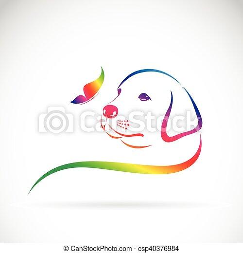 arrière-plan., vecteur, papillon, logo, chien blanc - csp40376984