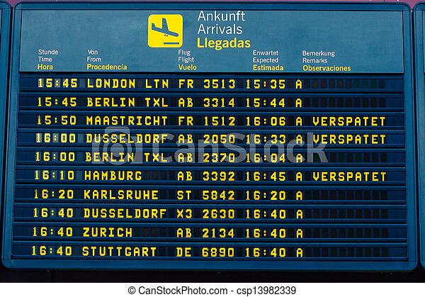 arrivée, information, aéroport, vol, planche - csp13982339