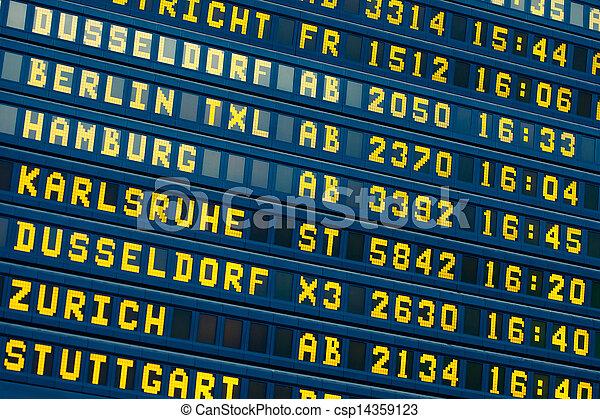 arrivée, information, vol, -, départ, aéroport, planche - csp14359123