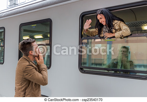 arrivée, train - csp23540170