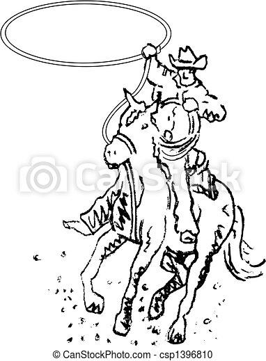 art, cow-boy, rodéo, occidental, ligne, cavalier - csp1396810