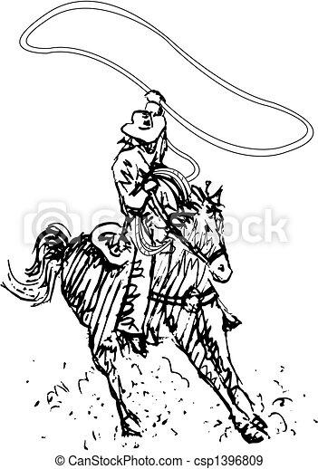 art, cow-boy, rodéo, occidental, ligne, cavalier - csp1396809