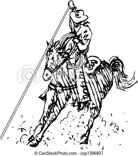 art, cow-boy, rodéo, occidental, ligne, cavalier - csp1396807
