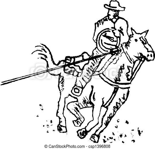 art, cow-boy, rodéo, occidental, ligne, cavalier - csp1396808