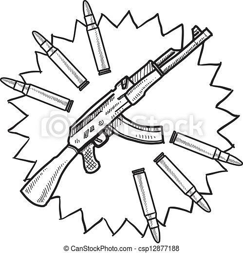 assaut, croquis, fusil - csp12877188