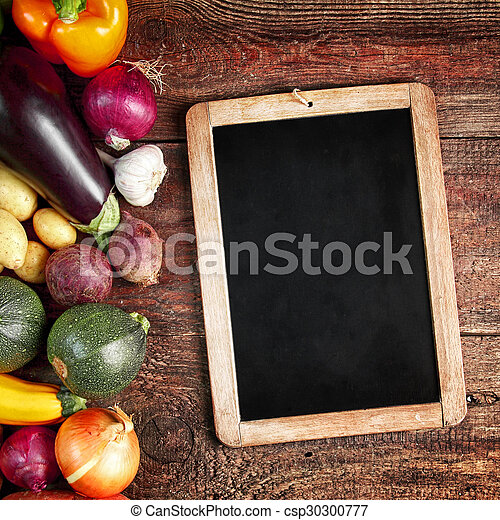 assorti, vendange, légumes, automne, frais, ardoise - csp30300777