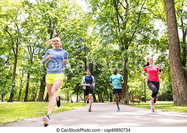 athlètes, park., courant, groupe, ensoleillé, vert, jeune - csp49950734