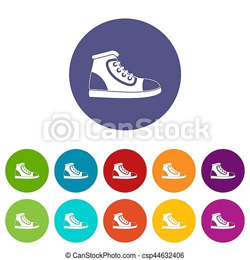 athlétique, ensemble, chaussure, icônes - csp44632406