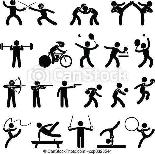 athlétique, jeu, intérieur, sport, icône - csp8323544