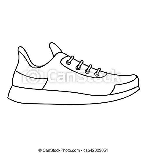 athlétique, style, icône, contour, chaussure - csp42023051