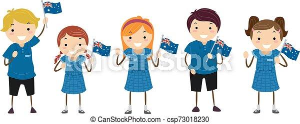 australien, gosses, drapeau, stickman, uniforme, étudiants - csp73018230