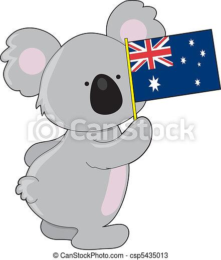 australien, koala, drapeau - csp5435013