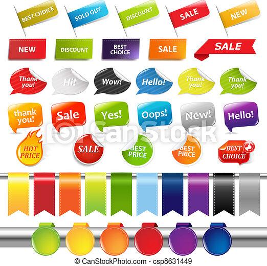 autocollants, ensemble, étiquettes, vente - csp8631449