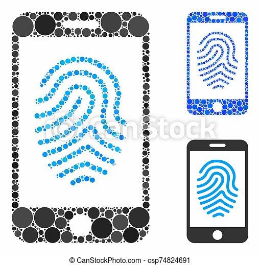 autorisation, icône, cercles, empreinte doigt, composition, mobile - csp74824691
