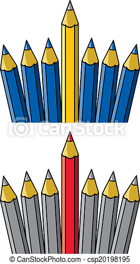 autres, vecteur, debout, unique, crayon, dehors - csp20198195