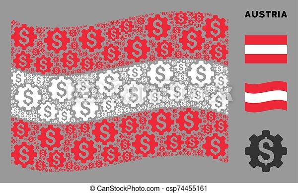 autriche, capital, mosaïque, drapeau ondulant, articles, industriel - csp74455161