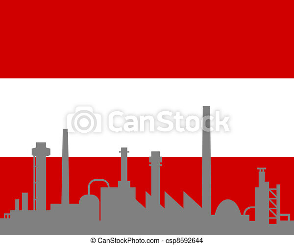 autriche, industrie, drapeau - csp8592644