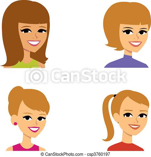 avatar, femmes, dessin animé, illustration portrait - csp3760197