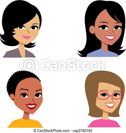 avatar, femmes, dessin animé, illustration portrait - csp3760193