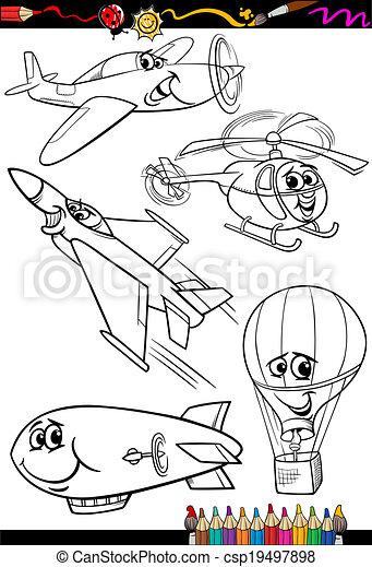 avion, coloration, ensemble, livre, dessin animé - csp19497898