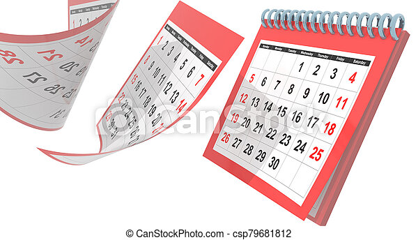 avril, -, pages, isolé, 3d, rendre, voler, rouges, calendrier, 2020 - csp79681812