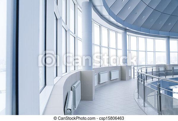 bâtiment, arrondi, bureau, fenetres, moderne, intérieur, colonnes - csp15806463