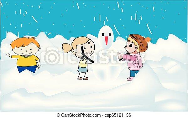 bâtiment, bonhomme de neige, gosses, lancement, snowball., enfants, boule de neige, ensemble, baston, courant, boules neige, forêt, pendant, sauter, confection, avoir, snowfall. - csp65121136